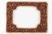 Two Frames Of The Rope With Coffee Beans On A White Background