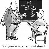 picture of understanding  - Cartoon of business trainer saying to businessman who does not understand the concept - JPG