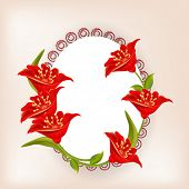 Illustration of a designer oval shaped frame decorated with stylish red flowers with space for your message.