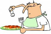 Man salting his spaghetti dinner