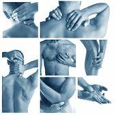 Collage representing man having pain