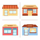 Set of flat store building icons