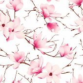 Delicate magnolia flowers seamless vector pattern