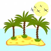 illustration of palm tree in island on background
