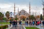 Blue Mosque, Sultanahmet Square in winter in rainy weather.