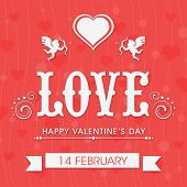 stock photo of corazon  - Beautiful love greeting card design for 14 February - JPG