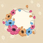 Illustration of a rounded frame surrounded by colorful flowers and buds with space for your message on flower decorated background.