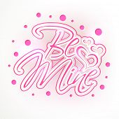 Elegant greeting card design with pink text Be Mine on grey background for Valentines Day celebration.