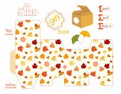 Printable Gift Box With Colorful Autumn Leaves