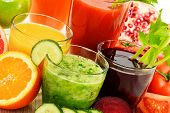 foto of fruit-juice  - Glasses with fresh organic vegetable and fruit juices Detox diet - JPG