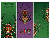 Set Of Cards With Abstract Spiders