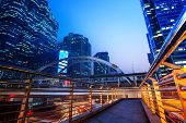lighting of modern building landmark in heart of bangkok thailand