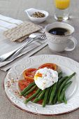 Healthy  Breakfast: Vegetables, Poached Egg, Cup Of Coffee And Juice