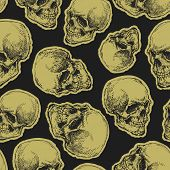 vector seamless pattern with skulls on dark background