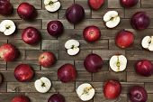 Closeup With Red-ripe Apples On Old Wooden Background.
