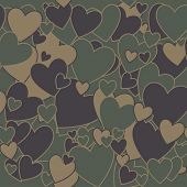 Surreal Military Camouflage Background with Love heart shape
