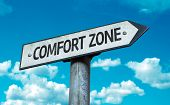 Comfort Zone sign with sky background