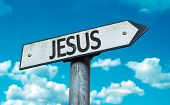 Jesus sign with sky background