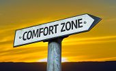 Comfort Zone sign with a sunset background