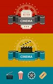 Retro cinematography banners with icons flat design. Eps10 vector illustration. Isolated on white background