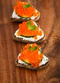 Heart Shaped Toasts With Red Caviar