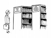 picture of manger  - Cartoon of businesswoman looking at two rows of books - JPG