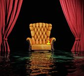 luxury leather armchair and red curtain above flooding  interior (3D)