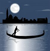 pic of moon silhouette  - gondola silhouette in the sea and full moon - JPG