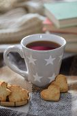 Cozy winter cup with cookies