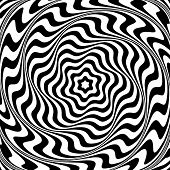 Illusion of  whirl movement. Abstract op art illustration. Vector art.