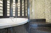 Designed Shower In Gleaming Bathroom
