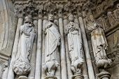 pic of minos  - Statues of Catholic Saints at the Entrance Portal of the Cathedral of Tui Galicia Spain - JPG