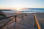 stock photo of costa blanca  - Sunrise on scenic Guardamar beach Costa Blanca Spain - JPG