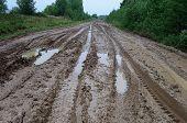 Messy Rural Dirt Road After Rain
