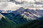 pic of road trip  - Scenic view of Rocky mountains range in Jasper NP Alberta Canada - JPG