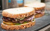 Roast Beef Deli Style Sandwich On Cracked Whole Wheat Bread