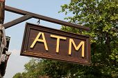 foto of south east asia  - A wooden ATM sign in Laos  - JPG