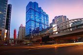 Beautiful Lighting Dusky Sky Of Important Bangkok Modern Building Landmark