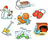image of toboggan  - Set of cartoon winter elements for your design - JPG