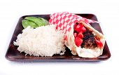 pic of gyro  - healthy lean ground lamb gyro with rice and peas - JPG