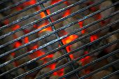 stock photo of barbecue grill  - open barbecue grill ready for cooking meat - JPG