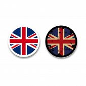 Grunge British flag badges