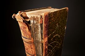 picture of leather-bound  - Old damage Book in leather bound with library - JPG