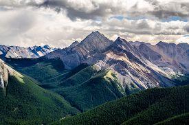 pic of mountain-range  - Scenic view of Rocky mountains range in Jasper NP Alberta Canada - JPG