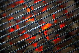 foto of braai  - open barbecue grill ready for cooking meat - JPG