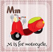 pic of letter m  - Flashcard letter M is for motorcycle - JPG