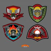 picture of eagles  - Set military and armed labels logo - JPG