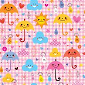 image of raindrops  - cute umbrellas raindrops flowers clouds characters seamless pattern - JPG