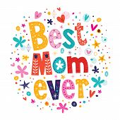 stock photo of i love you mom  - such a lovely Happy Mothers Day greeting card design with unique lettering text  - JPG