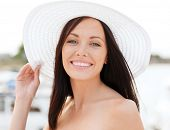 foto of beach hat  - summer holidays and vacation concept  - JPG